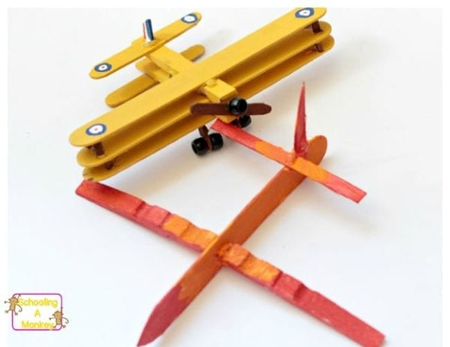 Two planes built with clothespins (Fifth Grade Science)