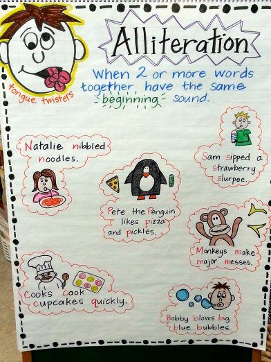 Alliteration anchor chart with illustrated tongue twisters