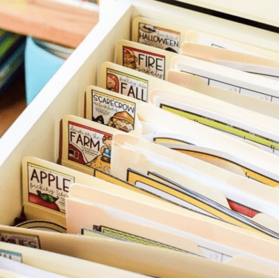 File folders with labels