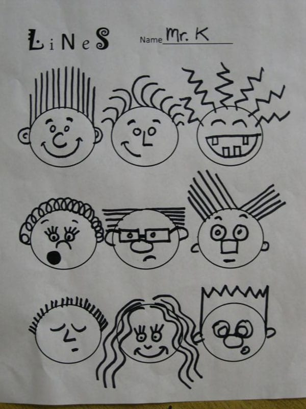 Worksheet of circles turned into a variety of funny faces