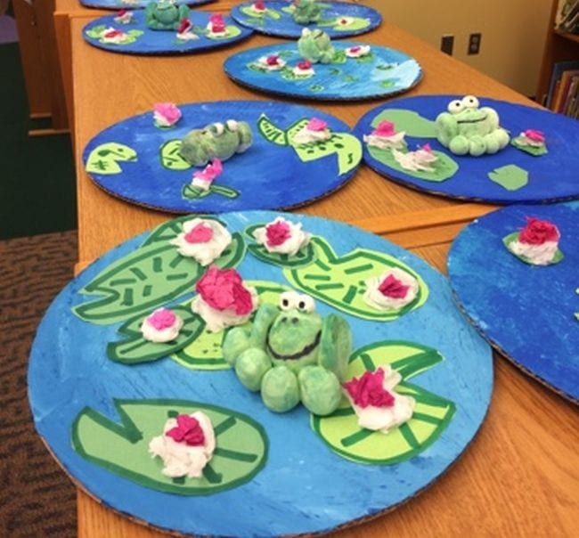 Cardboard ponds with crayon lily pads and sculpted clay frogs (First Grade Art)