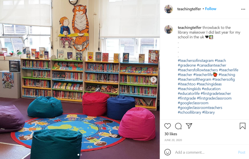 Still of first grade classroom ideas for library makeovers from Instagram