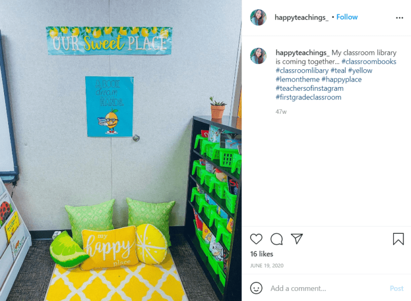 Still of first grade classroom ideas for turning your library into a sanctuary from Instagram