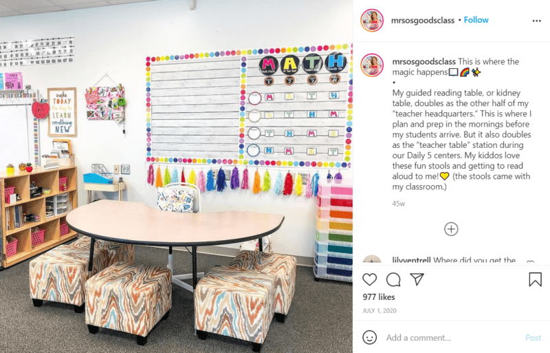 Still of first grade classroom ideas to make your reading table more inviting from Instagram