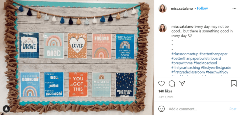 Still of first grade classroom ideas to put positivity on display from Instagram
