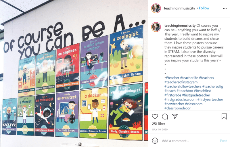 Still of first grade classroom ideas to support their career aspirations from Instagram
