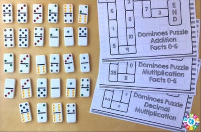 Set of dominos with printable worksheets for Domino Puzzle Addition Facts 0-6 (First Grade Math Games)