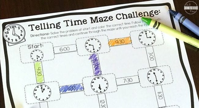 Printable worksheet with a variety of clock faces, with crayons (First Grade Math Games)
