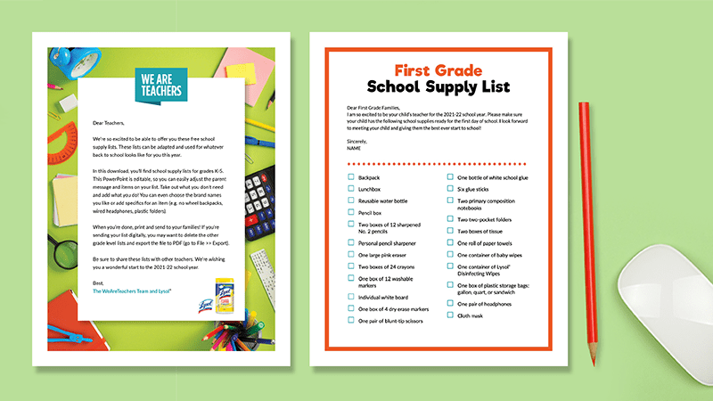 Flat lay of first grade school supply list on green background