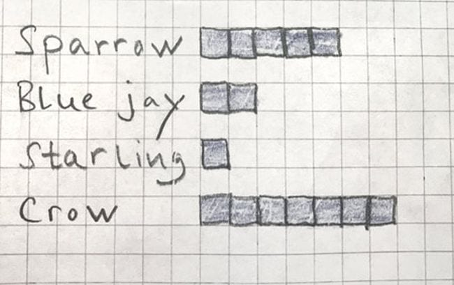 Bar graph showing the number of visits from sparrow, blue jay, starling, and crow
