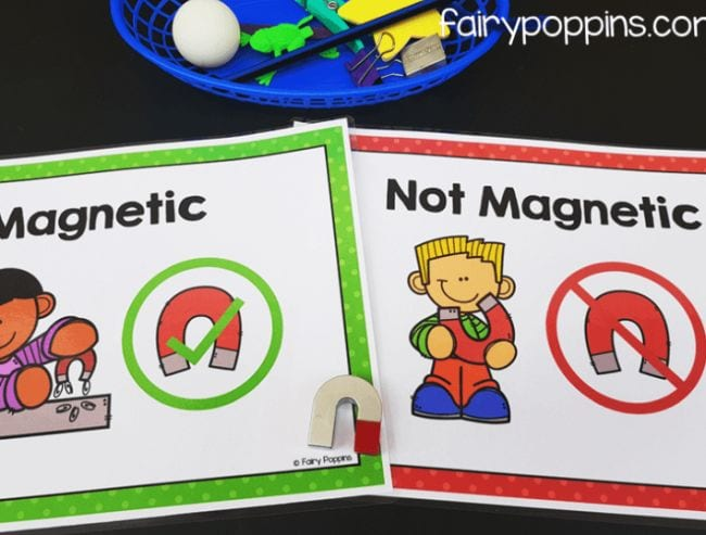 Two sheets labeled Magnetic and Not Magnetic with small u-shaped magnet and a basket of small objects
