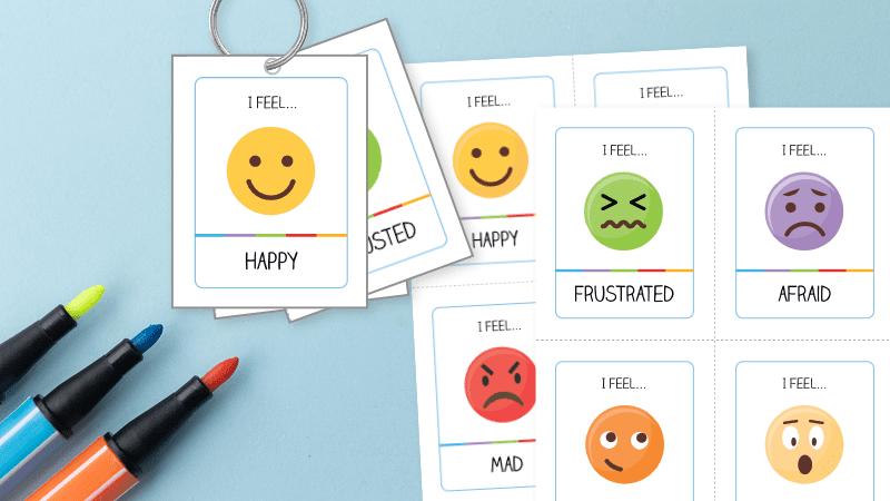 Printable emoji cards that resemble someones mood. helping kids manage emotions