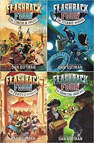 Book covers of the four titles in the Flashback Four series