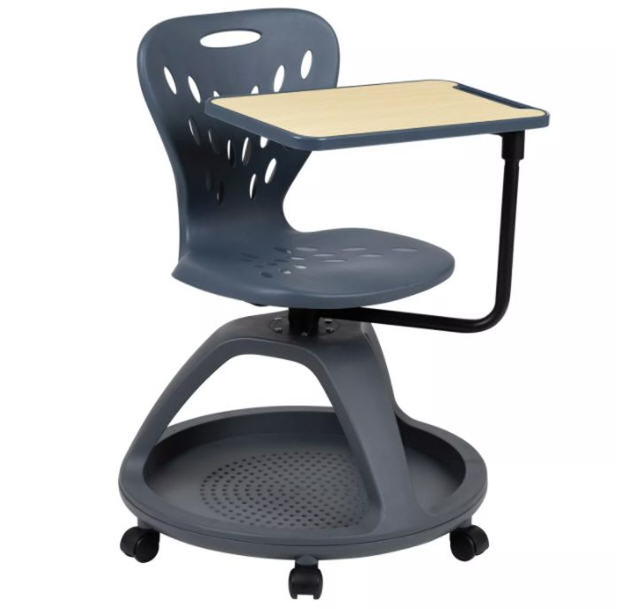 Dark gray desk chair on wheels with desk arm attached