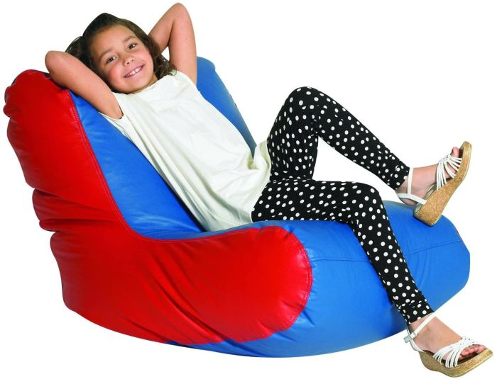 Student sitting in beanbag-style high-backed chair (Flexible Seating Options)