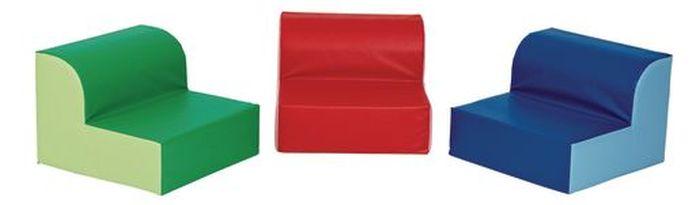 Three cushions with backs in different colors (Flexible Seating Options)