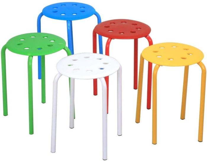 5 brightly colored simple plastic stools (Flexible Seating Options)