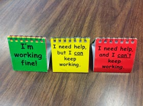 a flip chart in green, yellow and red for students to use to check for understanding