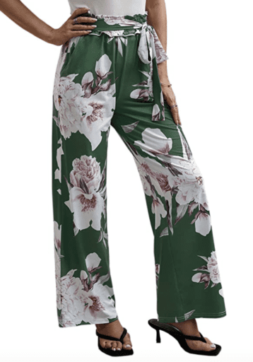 Floral belted wide leg high waisted women's pants
