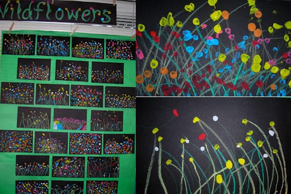 Collage of wildflower pictures made by dabbing paint on black paper and adding chalk stems
