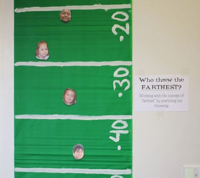"""Football field with children's pictures at different distances and a sign saying """"Who threw the farthest?"""" (Football Activities)"""