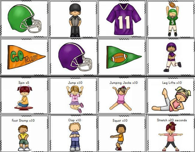 Printable cards with cartoon football pictures and images of children exercising