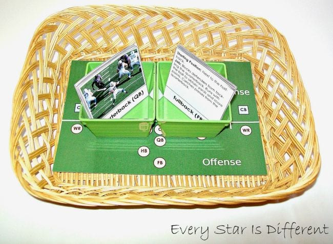Wicker basket holding cards showing pictures of football players and descriptions of their positions (Football Activities)