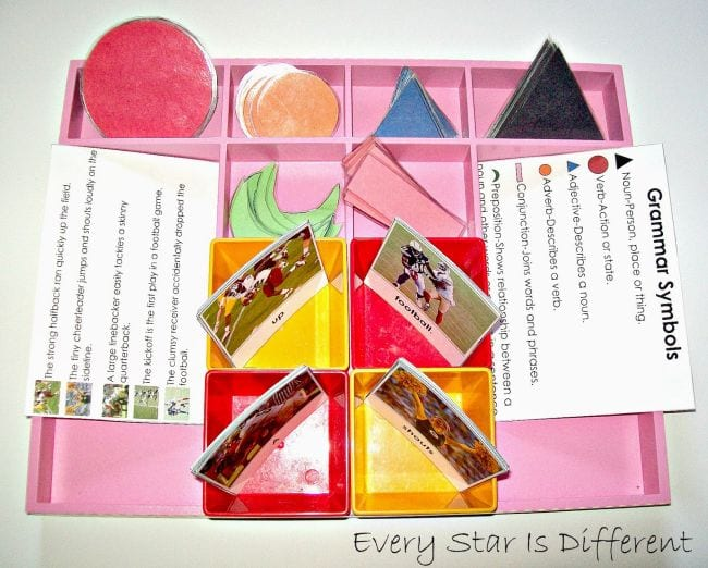 Pink divided box filled with laminated colored shapes and cards containing football-related sentences