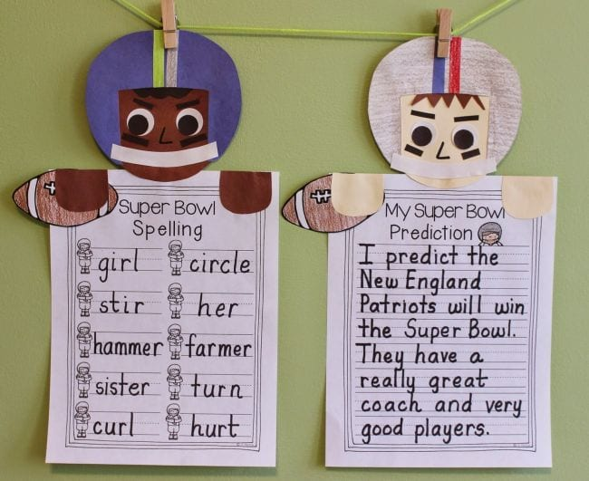Cutout football players with spelling words and a Super Bowl prediction