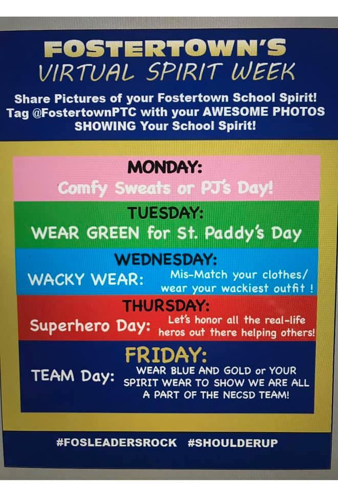 Poster sharing schedule for virtual spirit week at school