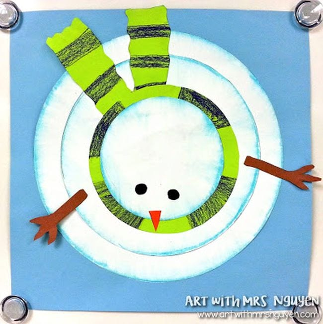 Drawing of a snowman, looking down from the top in a birds-eye view (Fourth Grade Art)