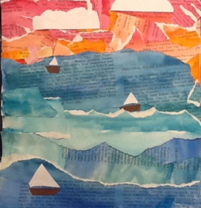 Watercolor seascape painted on torn book pages with construction paper ships (Fourth Grade Art Projects)