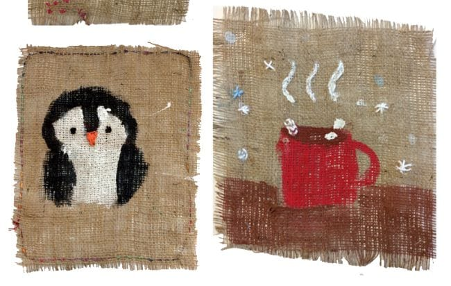 Penguin and hot chocolate mug painted and stitched on burlap