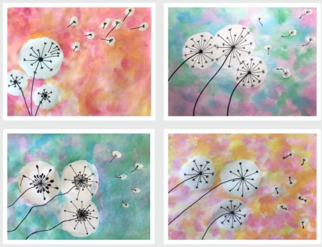 Collage of watercolor paintings with dandelion seed heads