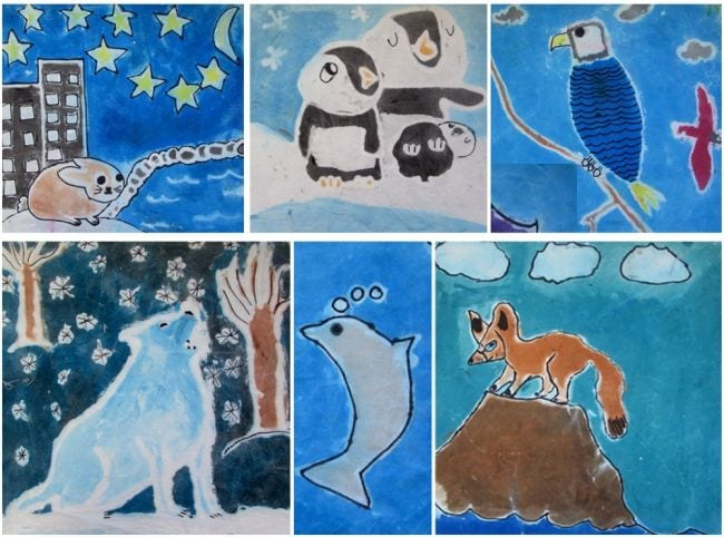 Collage of animals on cloth made using toothpaste batik method (Fourth Grade Art Projects)