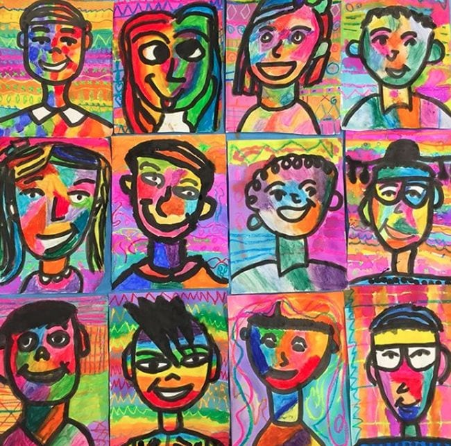 Collage of simple self-portraits done in bright colors (Fourth Grade Art Projects)