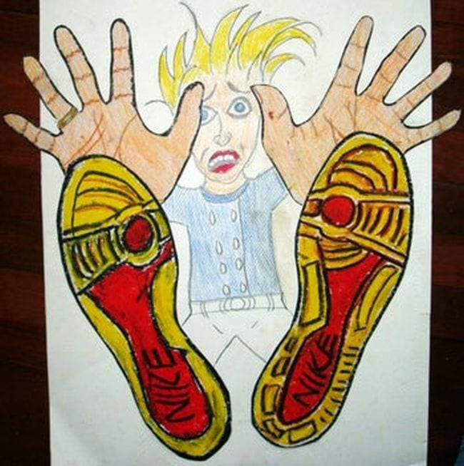 Art showing a student falling backward with the feet and hands large in the foreground (Fourth Grade Art Projects)