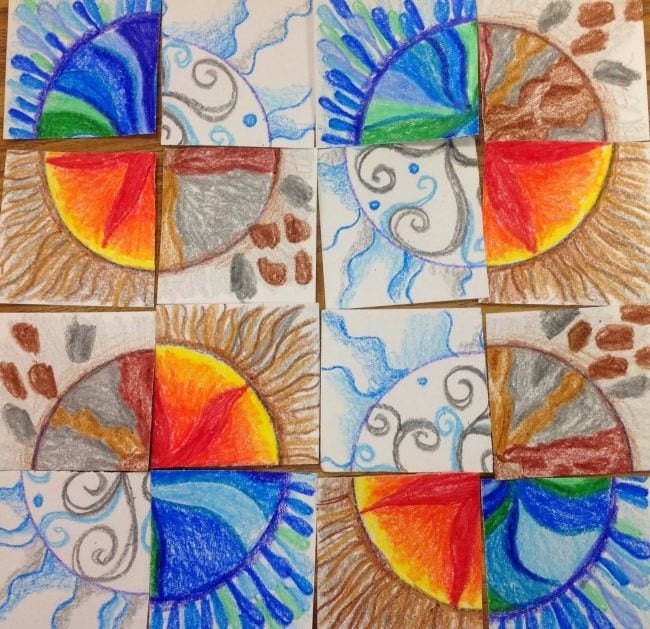 Four different patterned circles, split into quarters and reassembled (Fourth Grade Art Projects)