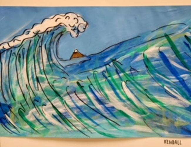 Large wave painted in shades of blues and green (Fourth Grade Art Projects)