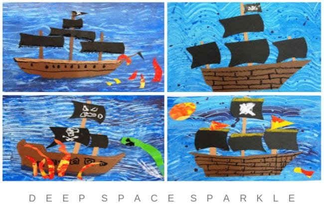 Collage of construction paper pirate ships with painted patterned backgrounds (Fourth Grade Art Projects)