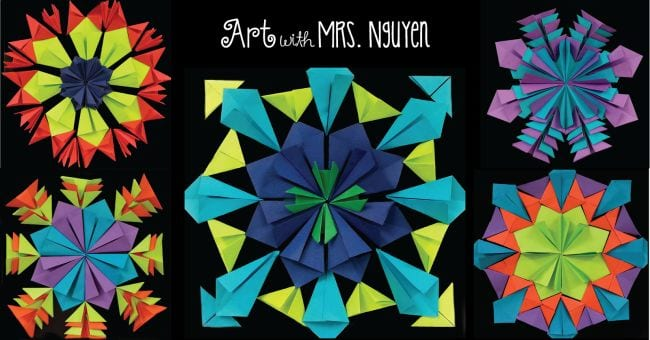 Collage of colorful folded paper patterns (Fourth Grade Art Projects)