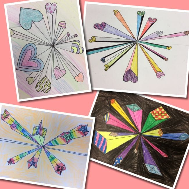 Collage of drawings of various shapes, exploding out from a central point (Fourth Grade Art)