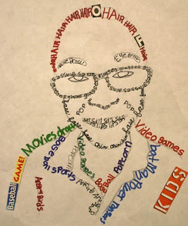 Portrait of a fourth grade art student made using words