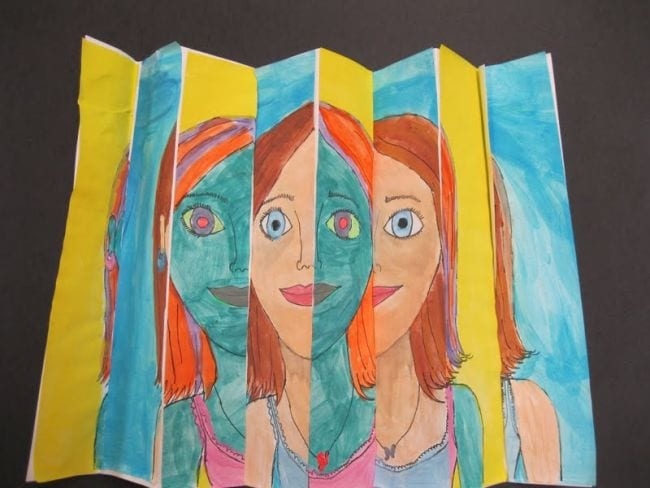 Accordion-folded paper with a regular portrait when viewed from one angle and a weird version from a second angle