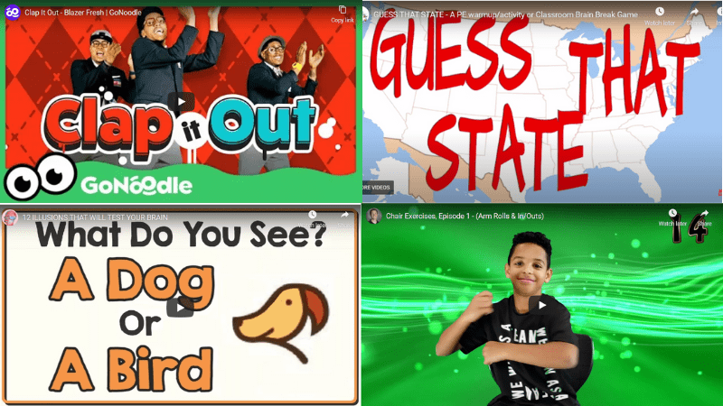 Collage of screenshots of videos for Fourth Grade Brain Breaks
