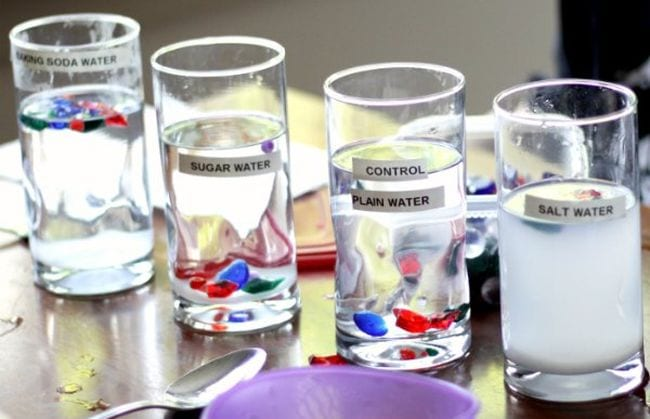 Series of glasses filled with liquid labeled baking soda water, sugar water, control plain water, and salt water, with red and blue objects floating in each