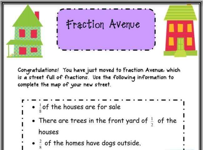 Fraction Avenue printable worksheet