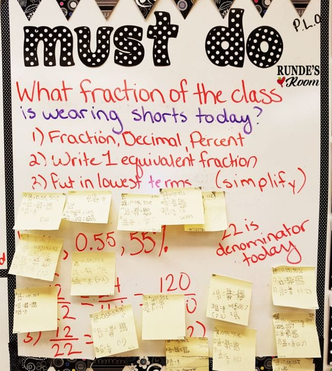 Fraction of the Day question reading What fraction of the class is wearing shorts? with sticky note answers (Fraction Games)
