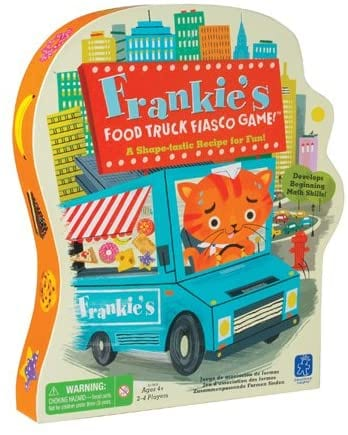 Box for Frankie's Food Truck Fiasco game showing a cat driving a food truck as an example of best preschool card games and board games for the classroom