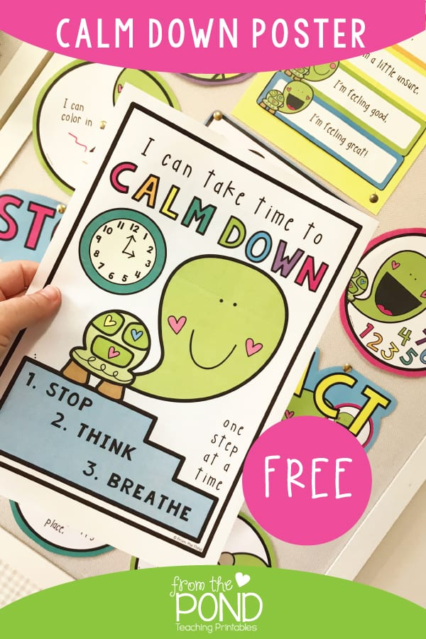 """Colorful poster that says """"I can take time to calm down one step at a time"""""""